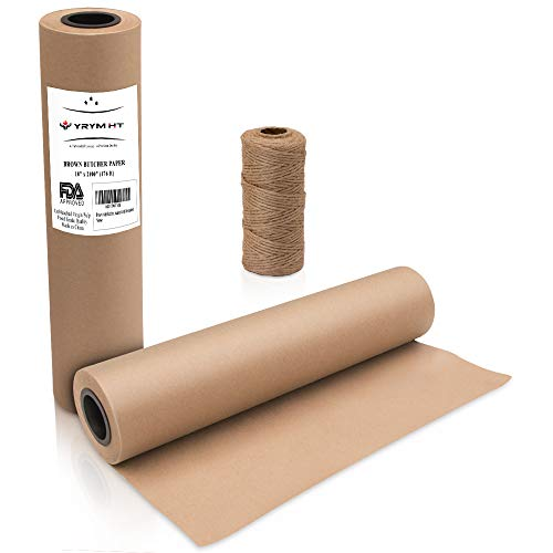 Brown Kraft Butcher Paper Roll - Natural Food Grade Brown Wrapping Paper for BBQ Briskets,Smoking & Wrapping Meats,18