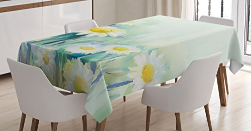 Ambesonne Watercolor Flower Home Decor Tablecloth, Daisies on Grass Mother Earth Icons Impressionist Print, Dining Room Kitchen Rectangular Table Cover, 60 W X 84 L inches, Pale Green