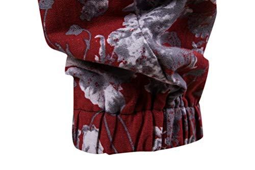 Realdo Clearance Mens Fashion Floral Print Trousers Sweatpants Elastic Waist Creative Comfy Pants(Medium,Red) by Realdo (Image #4)