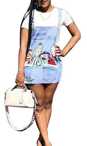 Femmes Domple Imprimer Manches Courtes Denim Robe Chemise Mode Col Rond Blanc