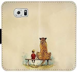 Caja del cuero de Calvin y Hobbes V8Y1H Funda Samsung Galaxy S6 Edge funda fundas Case h600E7 tirón del teléfono de protección personalizada