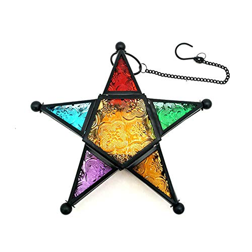 Debuy Five-Pointed Star Candle Holder Moroccan Style Hanging Glass Metal Candle - Candle Star Stand