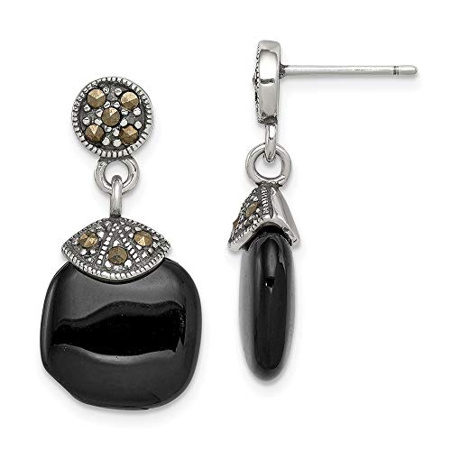 925 Sterling Silver Black Onyx Marcasite Post Stud Earrings Drop Dangle Fine Jewelry Gifts For Women For Her