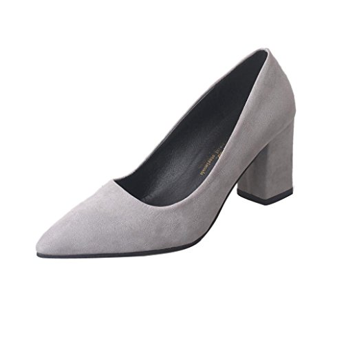 FEITONG Zapatos de mujer Tacones altos Grueso un solo zapato Zapatos De Trabajo Suelo Superficial Gris