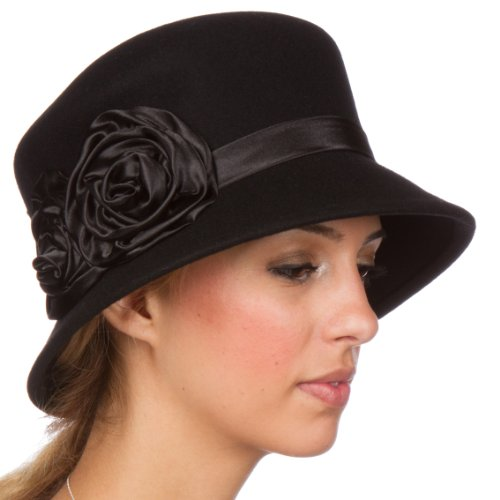 Black Satin Cloche Hat (Sakkas 10M Alice Satin Rose Vintage Style Wool Cloche Hat - Black - One Size)