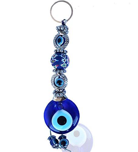 Ebsem Evil Eye Wall Hanging Glass Charm Decorative Turkish - Greek - Jewish - Christian Christmas Handmade Ornament (Dark Blue Fimo)