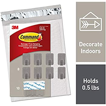 Command Small Stainless Steel Metal Hooks 8 Hooks, 10 Strips (DC031SS-8NA)
