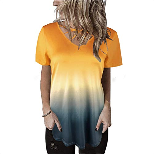 Xinantime Womens Gradient Short Sleeve Casual Shirts Front Cross Tunic Loose Blouse Tops ()