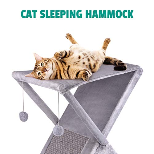 Ruff 'n Ruffus Foldable Cat Tower Tree + Free Bonus Handheld Chase Toy + 6 Cat Toys | Plush Folding House with Hammock | Condo | Scratching Pad | & Play Balls | for Kittens | Medium & Large Cats 7