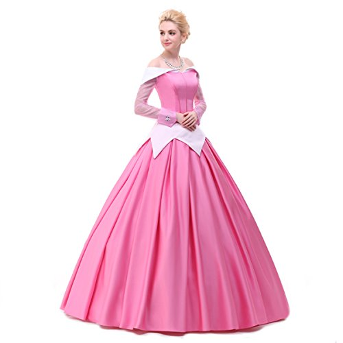 Angelaicos Womens Deluxe Princess Costumes Satin Lolita Dress Cloak Petticoat (L, Pink)