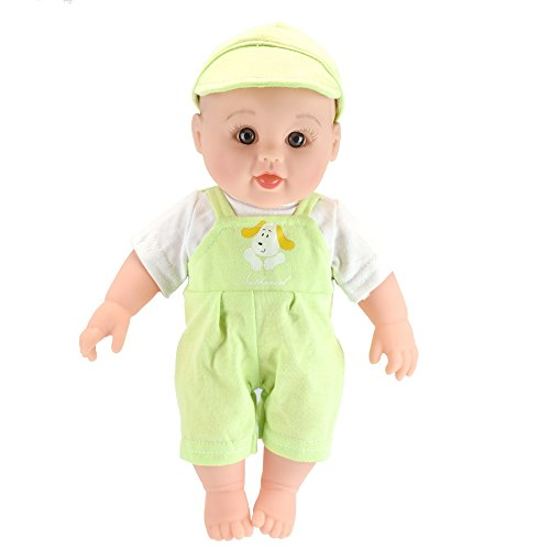 Tusalmo toys doll 12inch kids toy, vinyl body baby dolls for girls, from Professional toys doll manufacturers (green) (Toddler Plastic Doll)