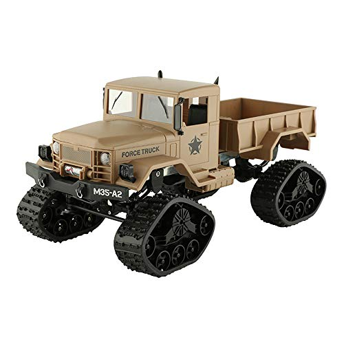 Vovomay CIS-FY2001T, Military Rock Racer - RC Military Truck Army 1: 16 4WD Tracked Wheels Crawler Off-Road Car RTR Toy New (Yellow), Tan (Rc Trucks With Trailer)