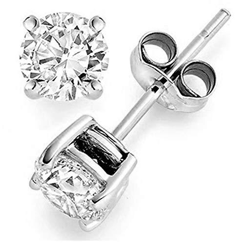 (1/5 ctw Diamond Earrings Studs 4 Prong Basket Settings Friction Back 14K White Gold)