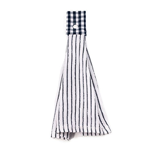 SNW 2 Pcs Kitchen Cotton Classical Striped Towel / Absorbent Towel /Hanging Towel /Hand Towel,Blue Stripes