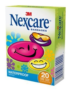 (3M Nexcare Tattoo Waterproof Bandages, Cool Collection, 594-20, 20 ct. One Size)