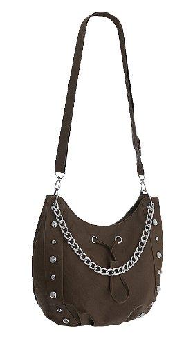 Chain EyeCatch Womens Vespa Shoulder Studded Brown Bag Leather Faux qPqAwEC