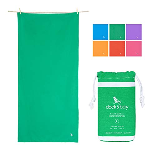 Dock & Bay Microfiber Towel - Travel & Outdoors (Green - Large 63x31) - Compact & Lightweight for Travel, Gym, Sports, Bath
