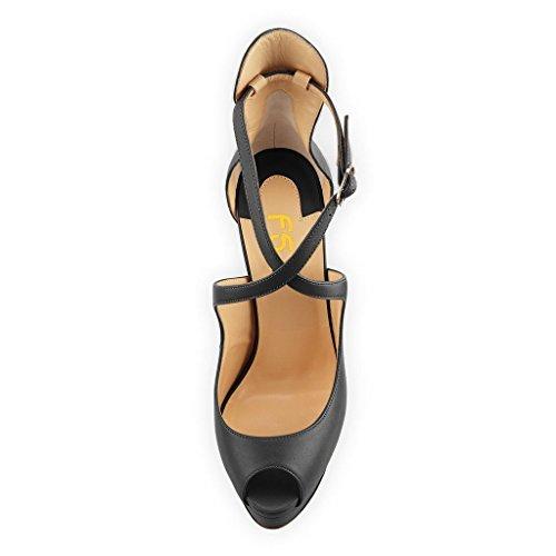 US Party Size Ankle Pumps Black FSJ Shoes High 4 Sexy Women Heel Stiletto Toe Peep 15 Platform Straps Cross ww7T1p