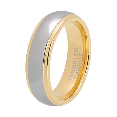 iTungsten 6mm 8mm Gold Tungsten Rings for Men Women Wedding Bands Stepped Edges Domed Polished Shiny Comfort Fit