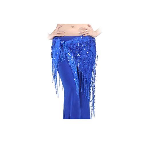 Women Belly Dance Practice Scarf Waistband Belt Skirt Sequin Tassels Dancewear,Sapphire