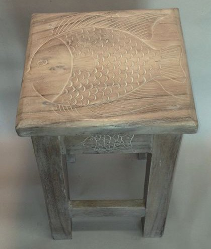Fish Hand Carved Wooden Stool/Table (Whitewashed)