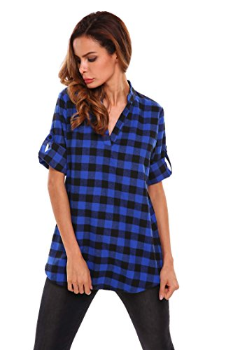 V Col 4 Lache Blouse Bleu Casual Chemisier Carreaux Chemise Manches Femme 3 Meaneor nCwFqR04