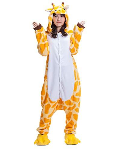 Giraffe Animal Pajamas for Women Men Adult Onesie Unisex Sleepwear Halloween Cosplay Costume (L, Orange) -