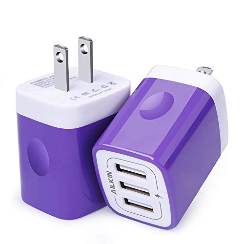 USB Charger Adapter, Ailkin 2 Pack 3.1A 3-Port Universal Home Travel USB Fast Charging Adapter Plug Cube Block Base Plug Outlet Compatible iPhone X/8/7/Plus, HTC, LG