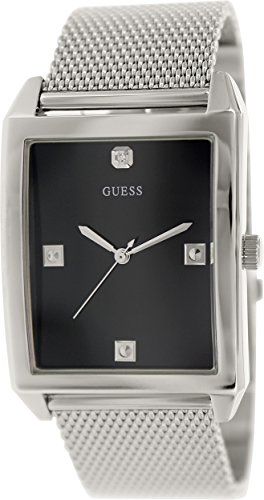 GUESS-Mens-U0279G1-Dressy-Silver-Tone-Watch-with-Black-Dial-and-Mesh-Deployment-Buckle