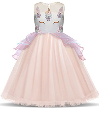 TTYAOVO Kids Unicorn Costume Dress Girl Princess Flower Pageant Party Tutu Dresses Size 7-8 Years (Number 6 Applique)