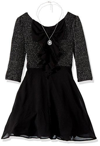 Amy Byer Girls' Big Lurex Knit Bow Back Dress with Chiffon Skirt, Silver, 16