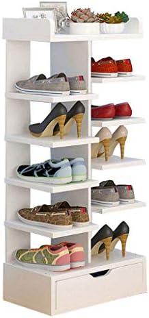 狭い靴ラック6層、シンプルな出入り口立っている靴のキャビネット、寝室/リビングルーム/廊下多機能収納ラック、40×24×91センチ ++ (Color : White)