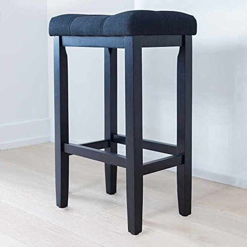 Wood Kitchen Pub-Height Barstool - Backless Upholstered Saddle Seat, 29 Inch - Black - For Bar or Counter - Black Bar Height Table