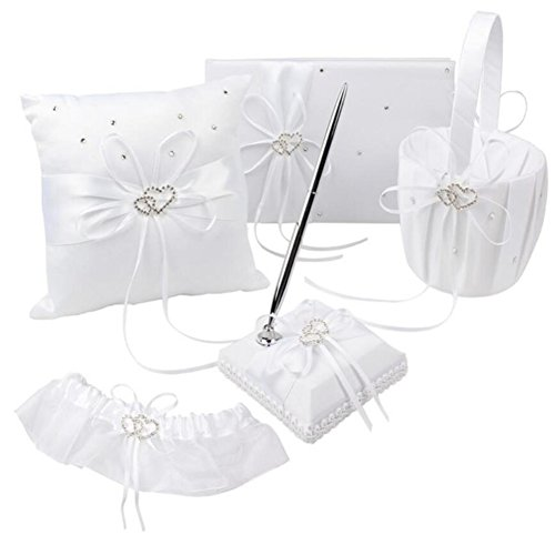 - VAlink 5Pcs/lot Romantic Wedding Decoration Set Rhinestone Stain Ribbon Wedding Ring Pillow+ Girls Flower Basket +Guest Book + Pen + Garter for Wedding Party Decor Accessories