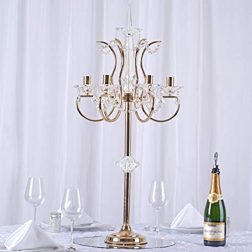 BalsaCircle 40-Inch Tall Gold 6 Arm Metal Acrylic Candelabra Candle Holder - Wedding Party Dining Home Centerpieces Decorations