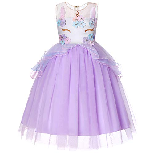 Molliya Unicorn Costume Dress Girl Princess Pageant Party Dresses Flower Evening Gowns Tutu Fancy Dress(Light Purple, 5T) ()