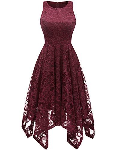 Bridesmay Women's Boatneck Sleeveless Elegant Floral Lace Asymmetrical Hanky Hem Cocktail Party Midi Dress Burgundy 2XL