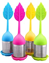 House Again 4-pack Extra Fine Mesh Tea Infuser with Drip Tray - 18/8 Stainless Steel Fine Mesh Tea Cup with BPA-Free Silicone Lid - Perfect Tea Balls Tea Strainers - Maple Leaf Design