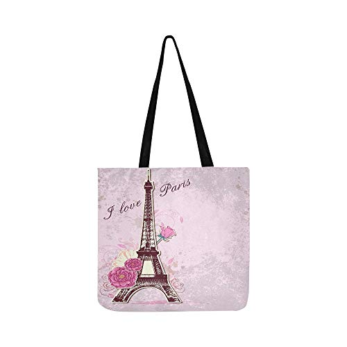 Vector Pink Background With Roses And Eiffel Tower Canvas Tote Handbag Shoulder Bag Crossbody Bags Purses For Men And Women Shopping Tote