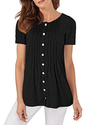 (Acelitt Women's Plus Size Summer Short Sleeve Button Up Blouses Crewneck Pleated Casual T Shirt Tees Tunic Top Solid Color Black XXL)