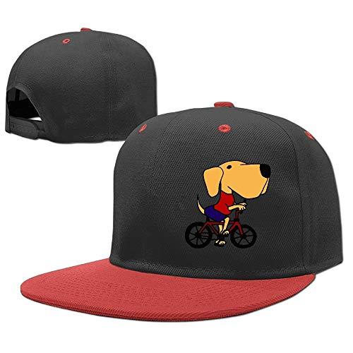(DIY Stsgg Kids Funny Yellow Labrador Retriever On Bicycle Adjustable Hip Hop Baseball Hat Custom Cap for Children)