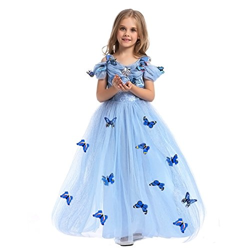 - Cinderella Costume Little Big Girl Lace Flower Tutu Dress Princess Pageant Wedding Birthday Fairy Tale Gown Blue 5-6 Years