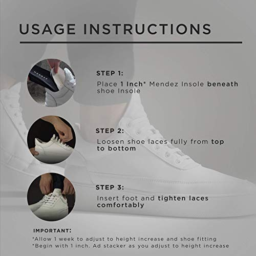 Mendez™ Premium Height Increase Insole - Advanced Comfort and Ergonomics, Shoe Lifts for Men & Women, Heel Lifts for Shoes, Elevator Shoe, Shoe Lift, Height Increasing Insole Kit, 1.5 inch by Mendez Insole Design Inc. (Image #4)