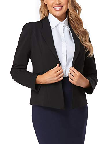 FIRST WAY Women's Blazer for Work Office Open Front 3/4 Sleeve Long Sleeve Business Jacket