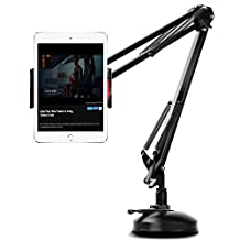 MoKo phone/Tablet Stand, Clamp Mount Cradle Holder with Adjustable Metal Arms and 360 Degree Rotatable Holder Clip, for iPad Pro 10.5/9.7/Air/Mini, iPhone X, iPhone 8/8 Plus, Galaxy Note 8,Black
