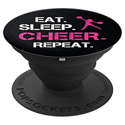 Eat Sleep Cheer Repeat Cheerleading Girl Cheerleader Gift - PopSockets Grip and Stand for Phones and Tablets