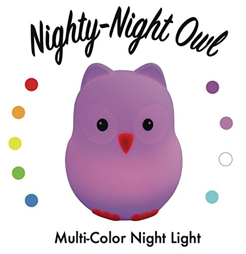Nighty Night Owl: Super Cute and Fun Night Light for Kids, Toddlers, and Babies - color-changing LEDs (9 colors!), BPA-free soft silicone, rechargeable, dimmer, remote -- Awesome birthday, baby gift!
