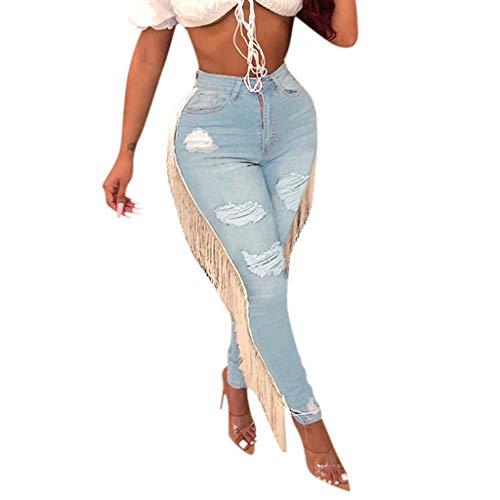 Women High Waist Hole Tassel Pants Button Zipper Pocket Denim Jeans