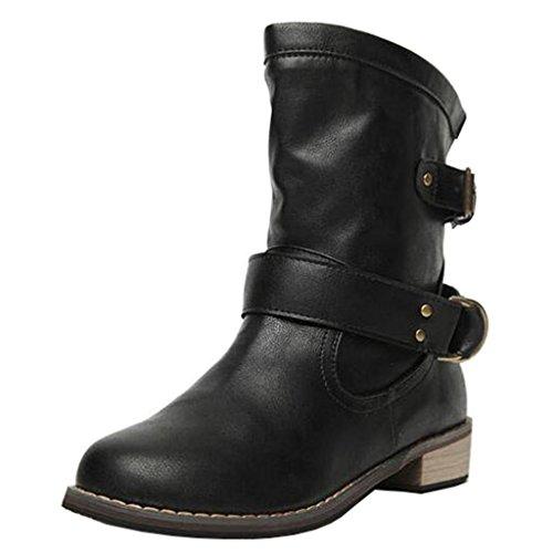 Binying Women's Round-Toe Block Heel Slip-on Biker Boots Black