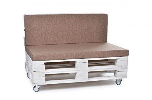 Palettenkissen, Gartenmöbel Auflagen, Sitzbankauflage, Matratzenauflagen auch m. Rückenlehne bzw. Dekokissen in Polyester hellbraun, wasserabweisend und strapazierfähig